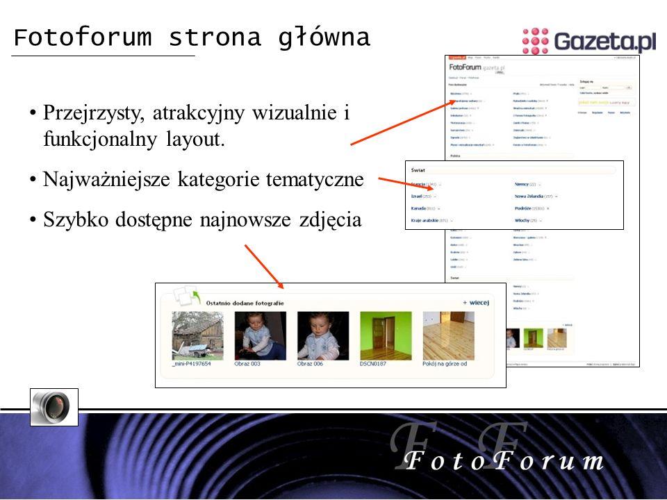 Fotoforum strona główna Przejrzysty, atrakcyjny wizualnie i funkcjonalny layout.