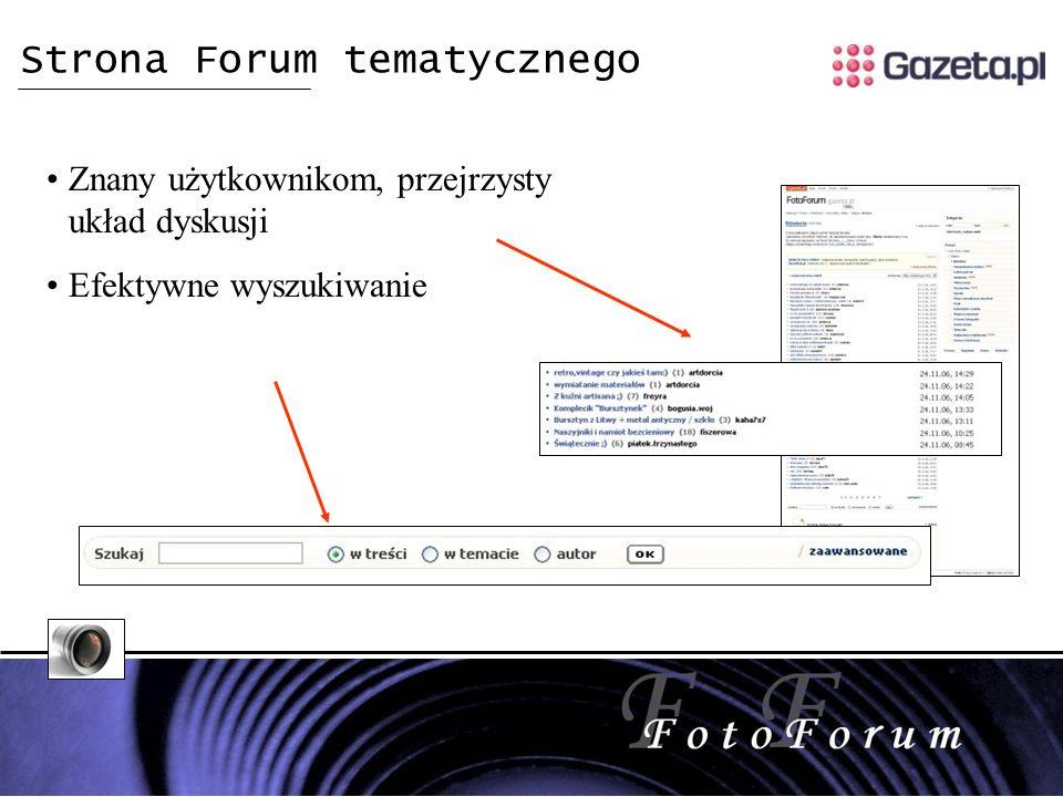 Strona Forum tematycznego Znany użytkownikom, przejrzysty układ dyskusji Efektywne wyszukiwanie