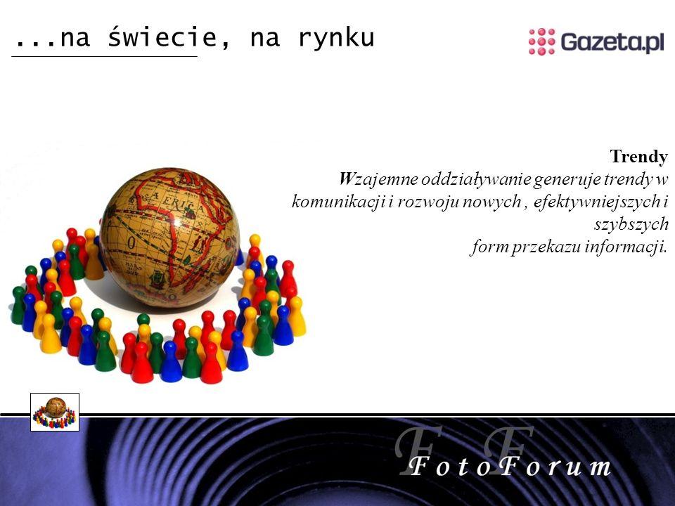 ...na świecie, na rynku Trendy Wzajemne oddziaływanie generuje trendy w komunikacji i rozwoju nowych, efektywniejszych i szybszych form przekazu informacji.