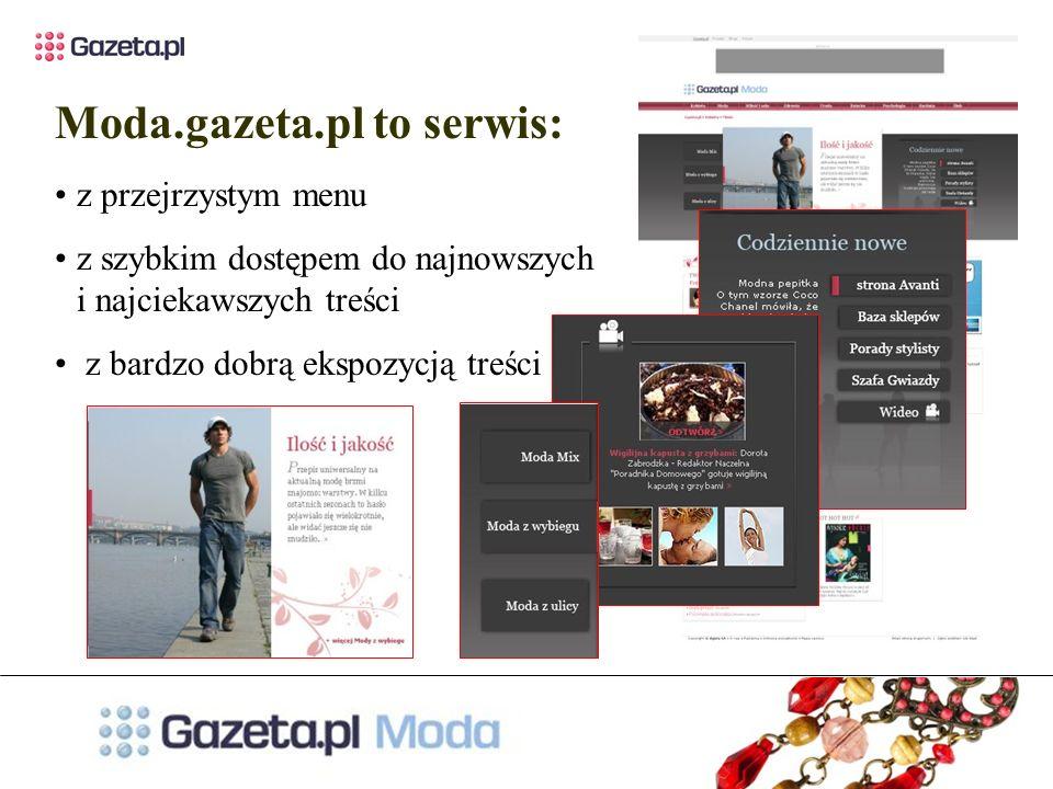 Moda.gazeta.pl to serwis: z przejrzystym menu z szybkim dostępem do najnowszych i najciekawszych treści z bardzo dobrą ekspozycją treści