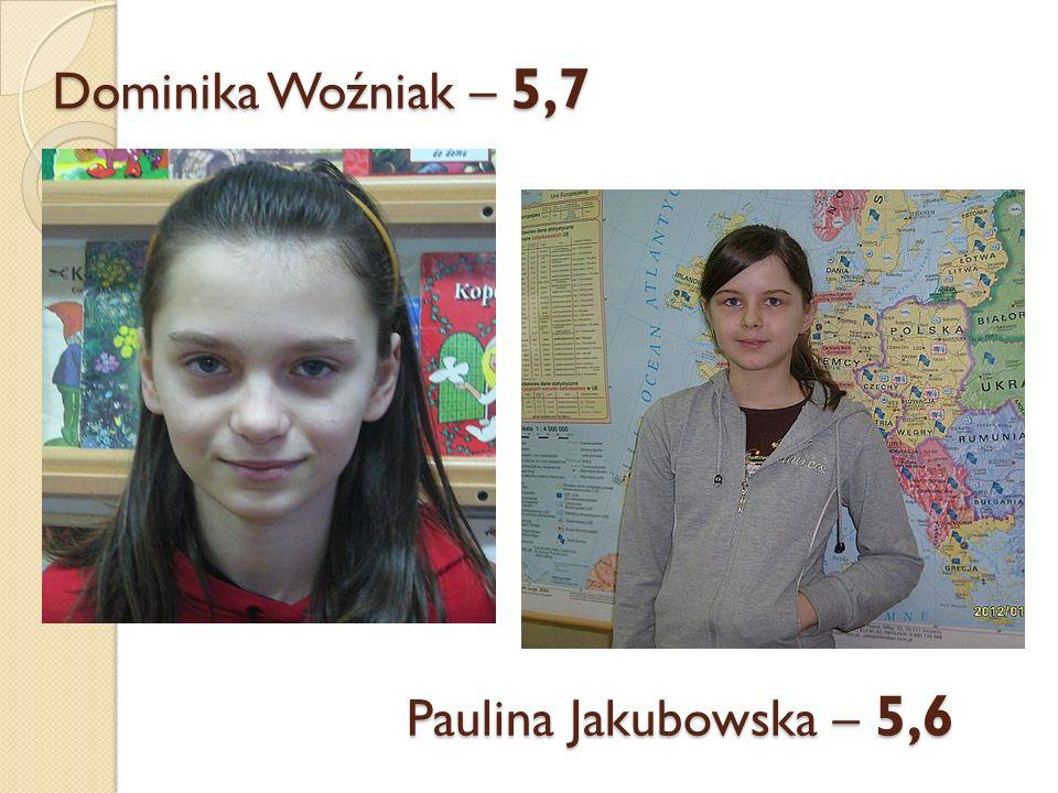 Dominika Woźniak – 5,7 Paulina Jakubowska – 5,6