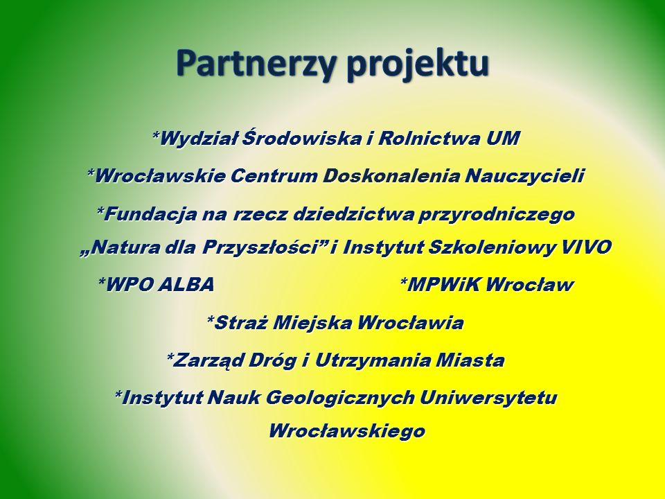 *Wydział Środowiska i Rolnictwa UM *Wrocławskie Centrum Doskonalenia Nauczycieli *Fundacja na rzecz dziedzictwa przyrodniczego Natura dla Przyszłości i Instytut Szkoleniowy VIVO WPO ALBA *MPWiK Wrocław *WPO ALBA *MPWiK Wrocław *Straż Miejska Wrocławia *Zarząd Dróg i Utrzymania Miasta *Instytut Nauk Geologicznych Uniwersytetu Wrocławskiego