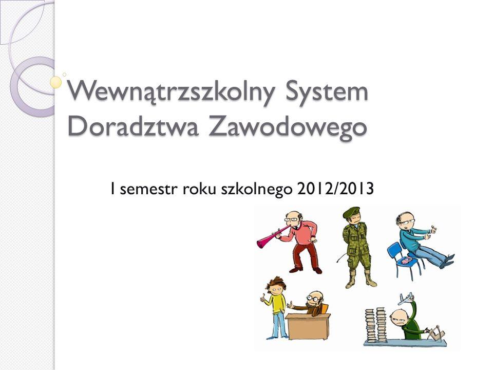 Wewnątrzszkolny System Doradztwa Zawodowego I semestr roku szkolnego 2012/2013