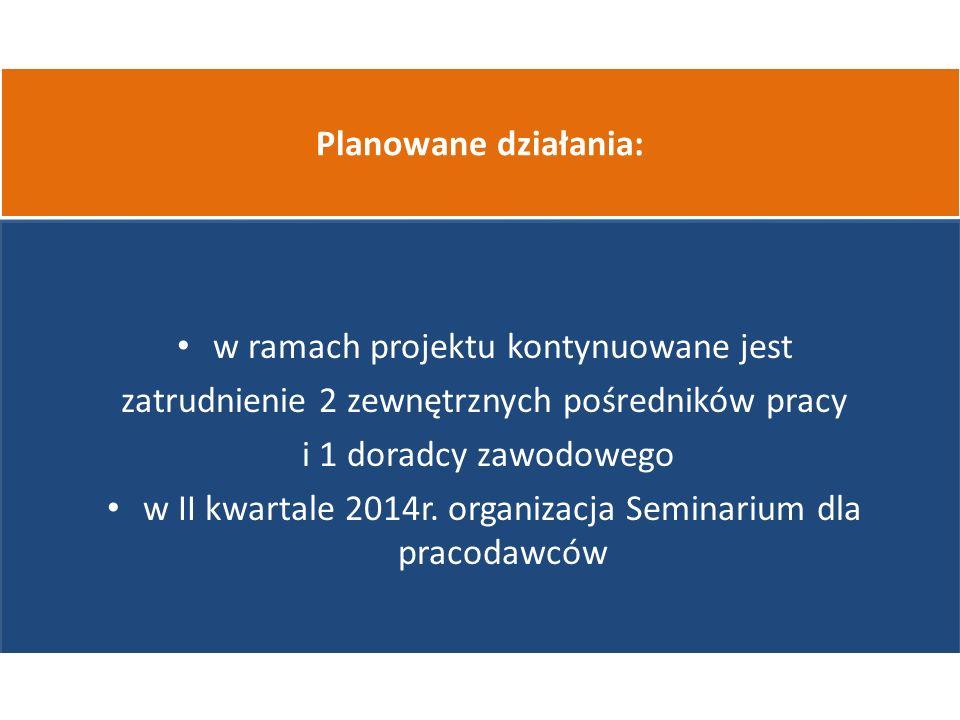 w ramach projektu kontynuowane jest zatrudnienie 2 zewnętrznych pośredników pracy i 1 doradcy zawodowego w II kwartale 2014r.