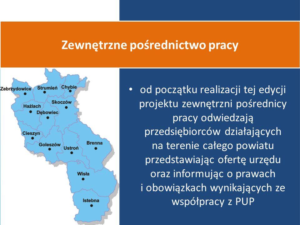 od początku realizacji tej edycji projektu zewnętrzni pośrednicy pracy odwiedzają przedsiębiorców działających na terenie całego powiatu przedstawiając ofertę urzędu oraz informując o prawach i obowiązkach wynikających ze współpracy z PUP Zewnętrzne pośrednictwo pracy