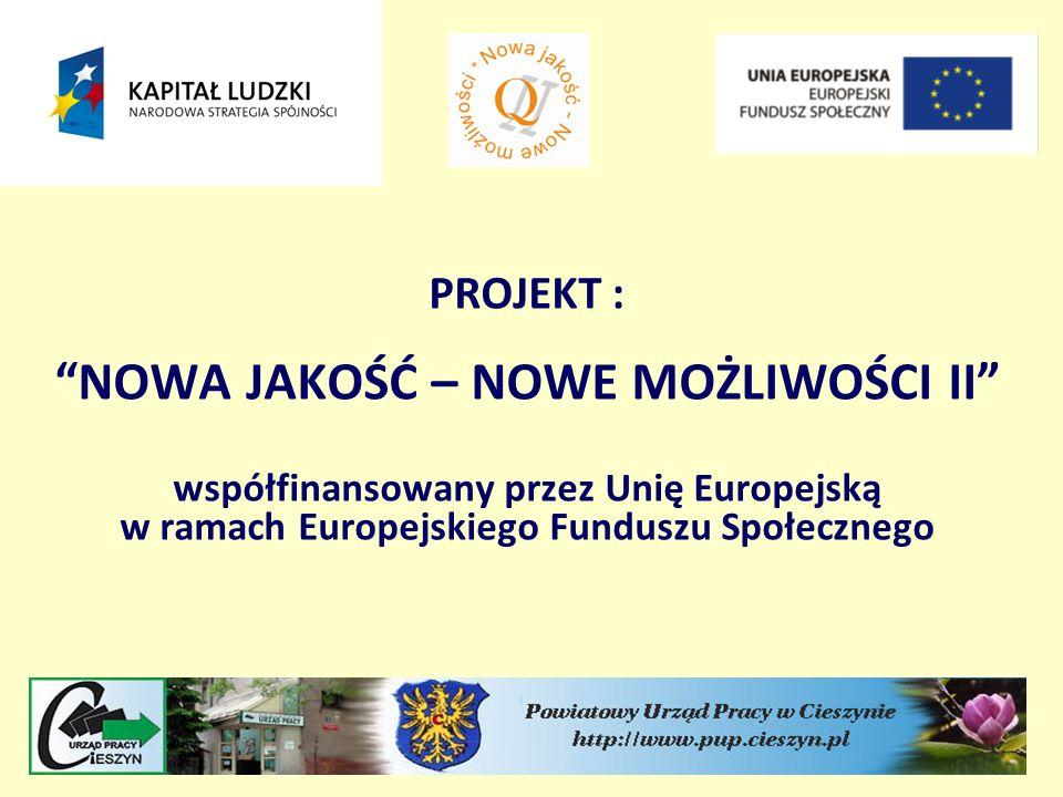PROJEKT : NOWA JAKOŚĆ – NOWE MOŻLIWOŚCI II współfinansowany przez Unię Europejską w ramach Europejskiego Funduszu Społecznego