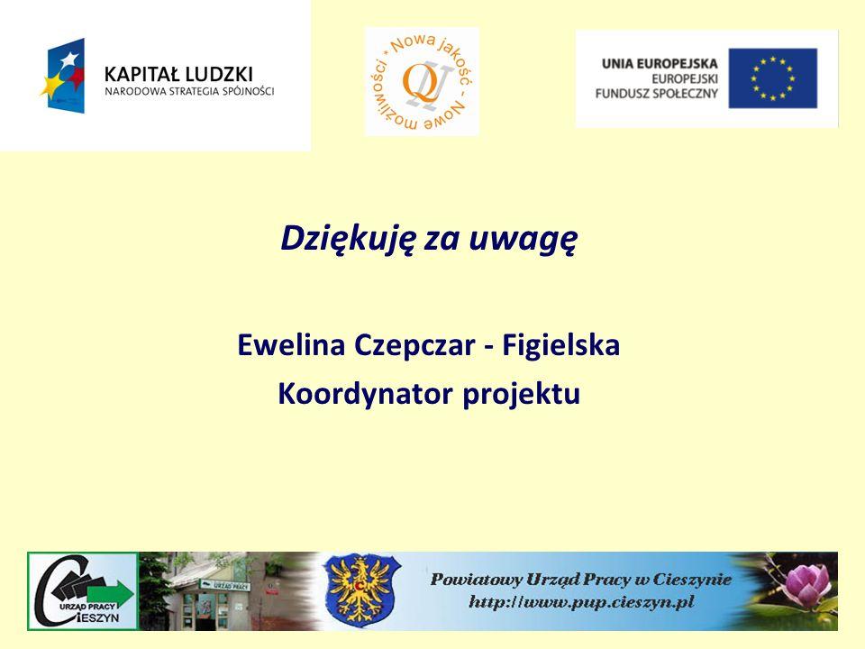 Dziękuję za uwagę Ewelina Czepczar - Figielska Koordynator projektu