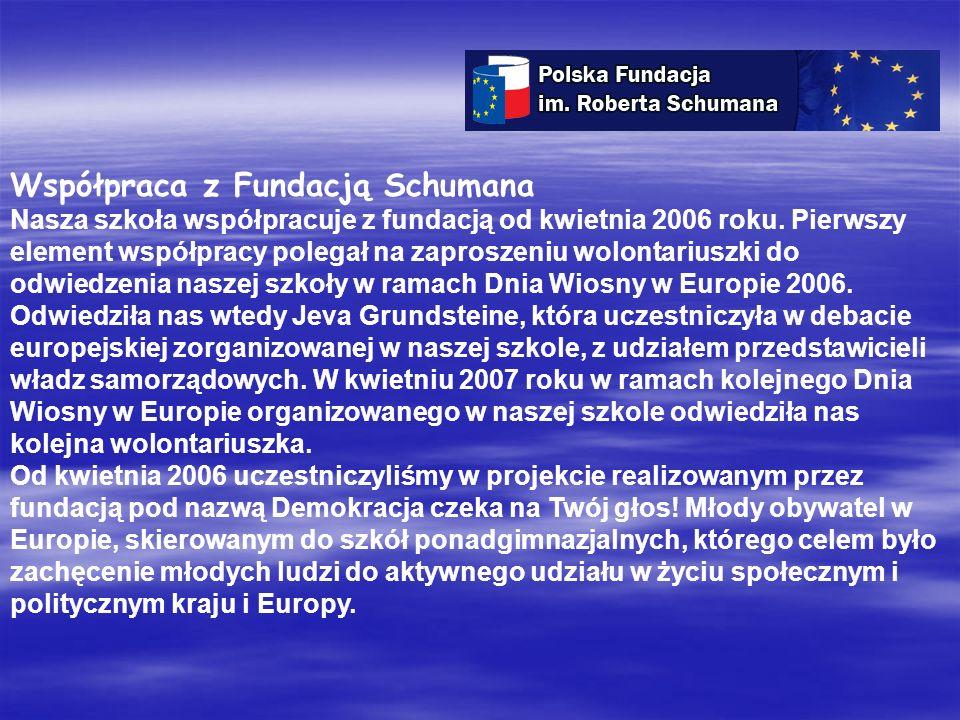 Współpraca z Fundacją Schumana Nasza szkoła współpracuje z fundacją od kwietnia 2006 roku.
