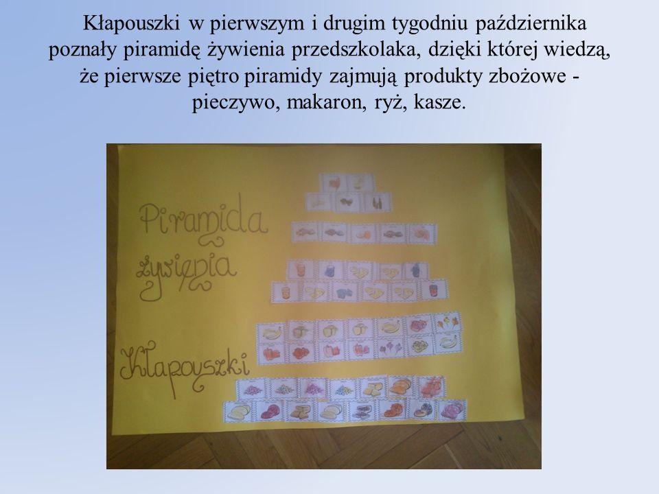 Kłapouszki w pierwszym i drugim tygodniu października poznały piramidę żywienia przedszkolaka, dzięki której wiedzą, że pierwsze piętro piramidy zajmu