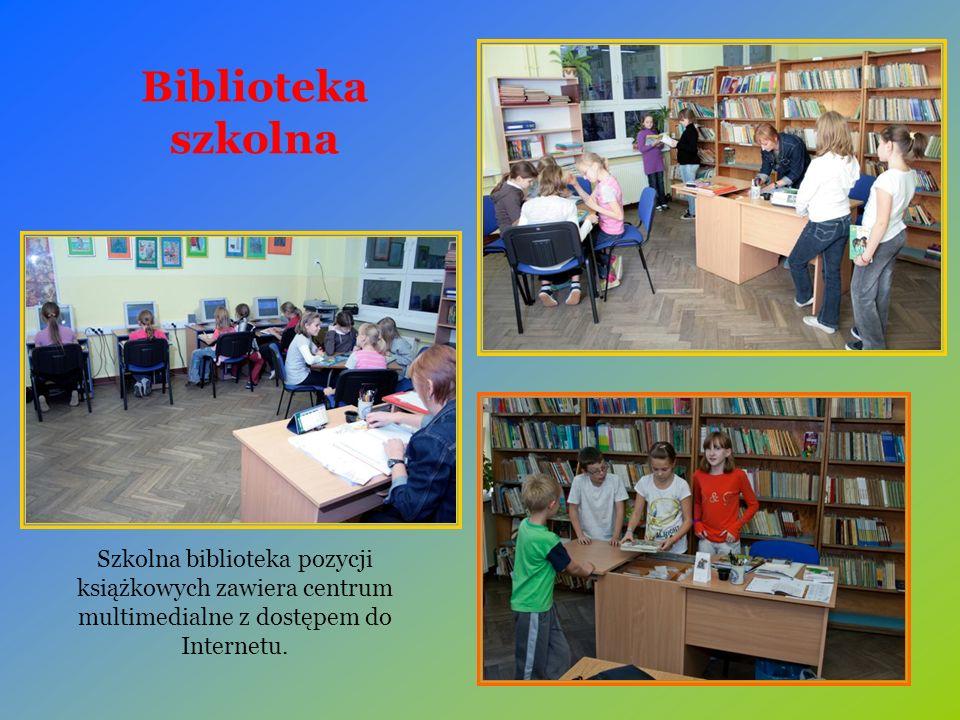 Biblioteka szkolna Szkolna biblioteka pozycji książkowych zawiera centrum multimedialne z dostępem do Internetu.