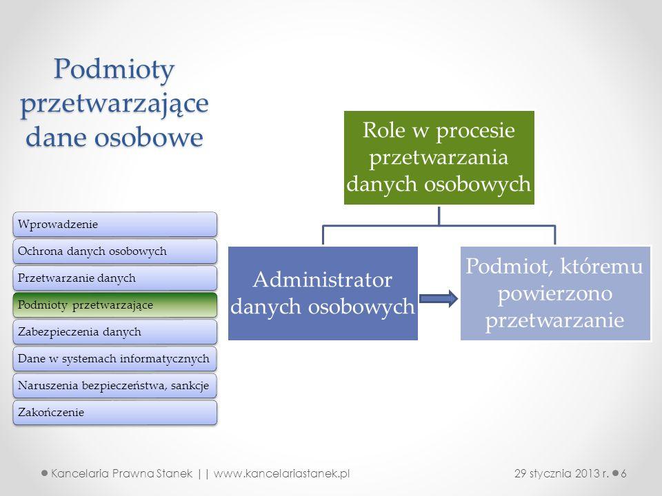 Podmioty przetwarzające dane osobowe Role w procesie przetwarzania danych osobowych Administrator danych osobowych Podmiot, któremu powierzono przetwa