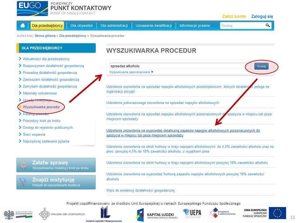 Projekt współfinansowany ze środków Unii Europejskiej w ramach Europejskiego Funduszu Społecznego 11