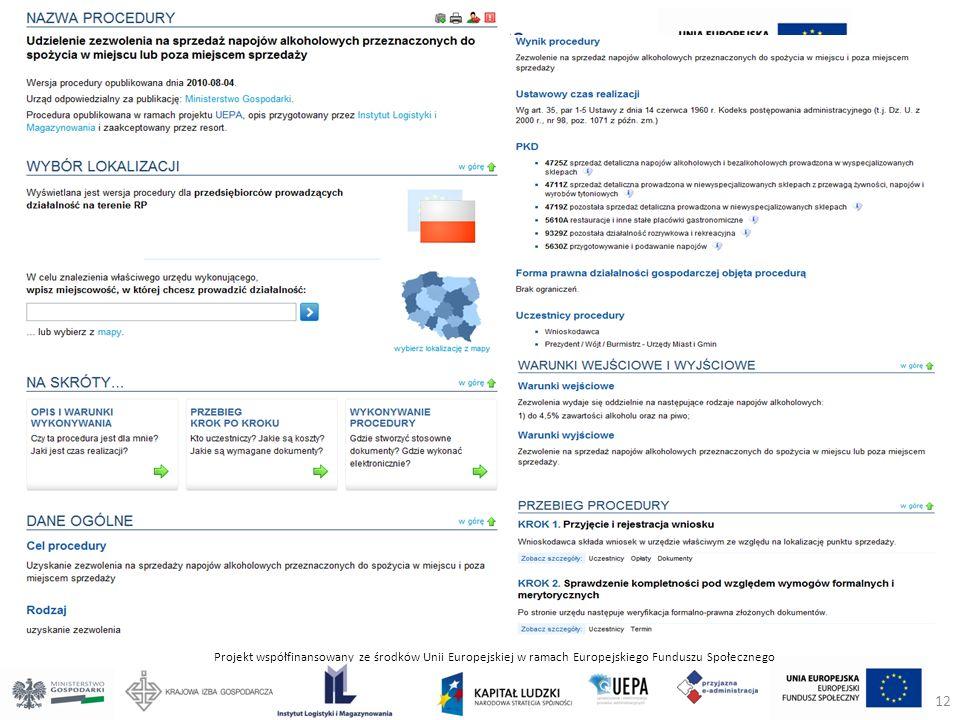 Projekt współfinansowany ze środków Unii Europejskiej w ramach Europejskiego Funduszu Społecznego 12