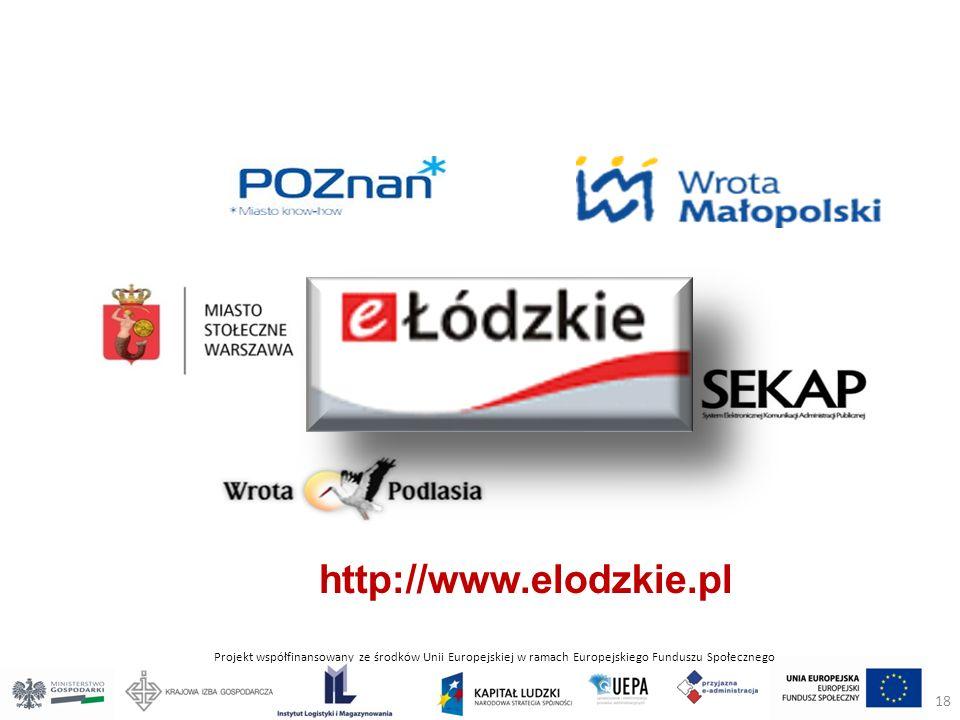Projekt współfinansowany ze środków Unii Europejskiej w ramach Europejskiego Funduszu Społecznego http://www.elodzkie.pl 18