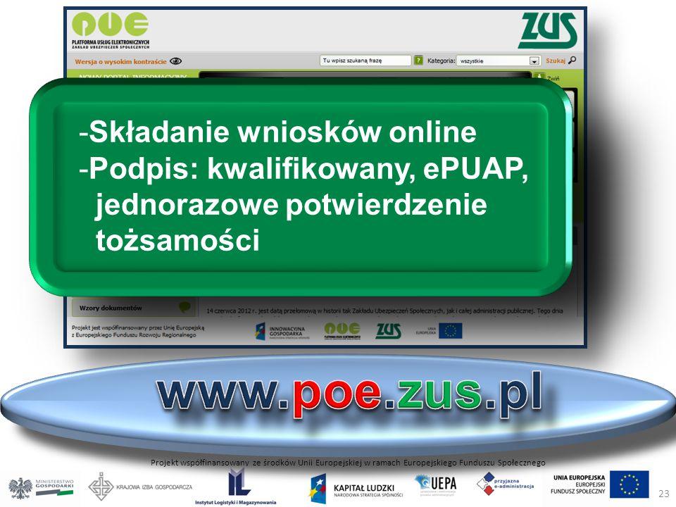 Projekt współfinansowany ze środków Unii Europejskiej w ramach Europejskiego Funduszu Społecznego -Składanie wniosków online -Podpis: kwalifikowany, ePUAP, jednorazowe potwierdzenie tożsamości 23