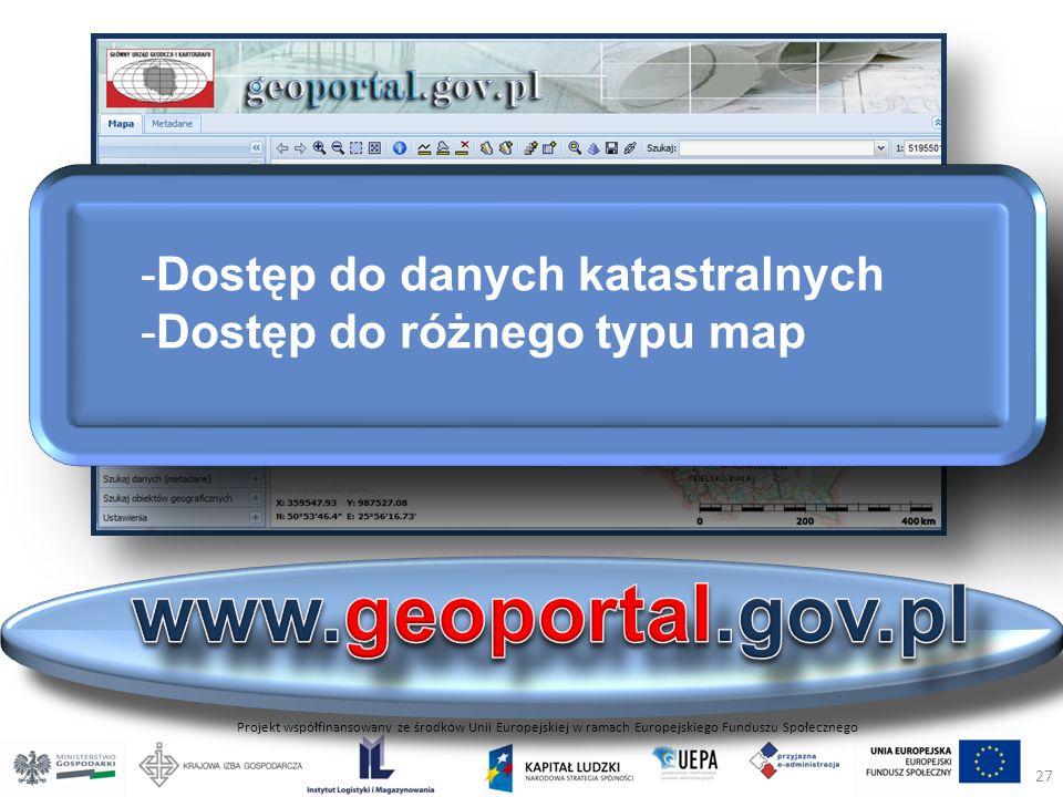 Projekt współfinansowany ze środków Unii Europejskiej w ramach Europejskiego Funduszu Społecznego -Dostęp do danych katastralnych -Dostęp do różnego typu map 27