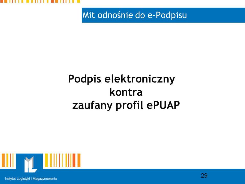 Mit odnośnie do e-Podpisu 29 Podpis elektroniczny kontra zaufany profil ePUAP