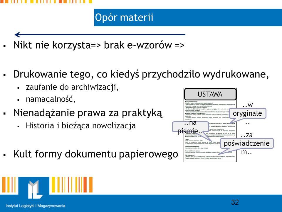 Opór materii 32 Nikt nie korzysta=> brak e-wzorów => Drukowanie tego, co kiedyś przychodziło wydrukowane, zaufanie do archiwizacji, namacalność, Nienadążanie prawa za praktyką Historia i bieżąca nowelizacja Kult formy dokumentu papierowego..w oryginale....na piśmie....za poświadczenie m..