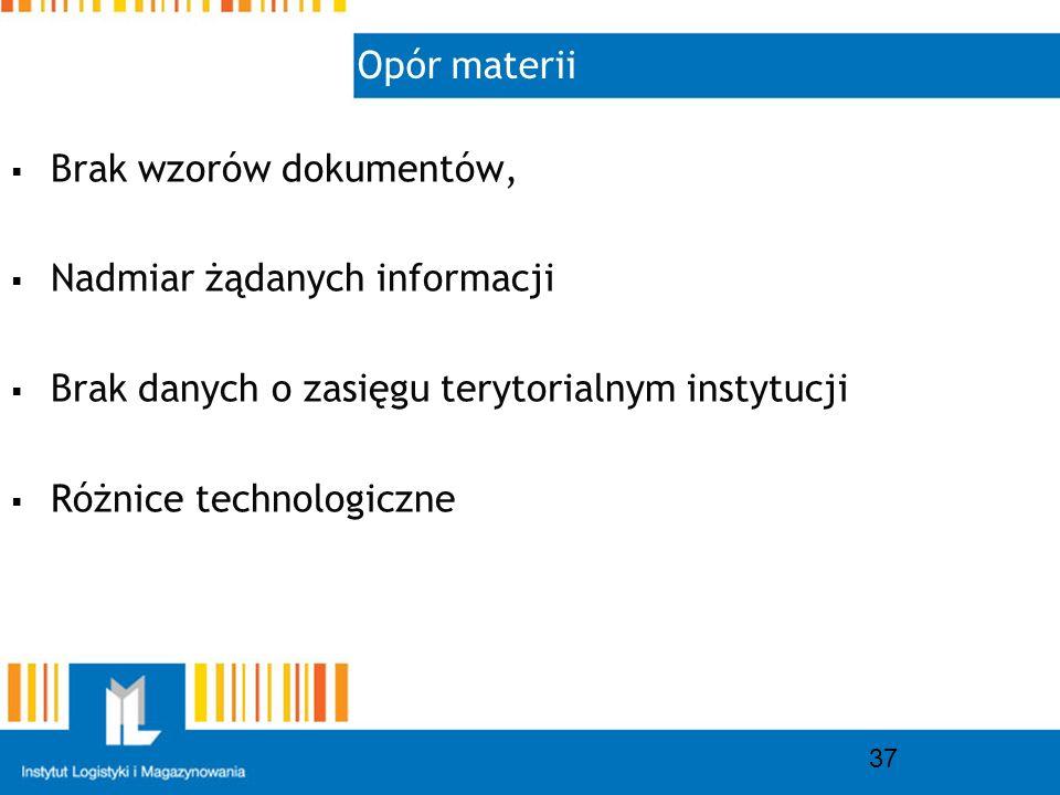 Opór materii 37 Brak wzorów dokumentów, Nadmiar żądanych informacji Brak danych o zasięgu terytorialnym instytucji Różnice technologiczne