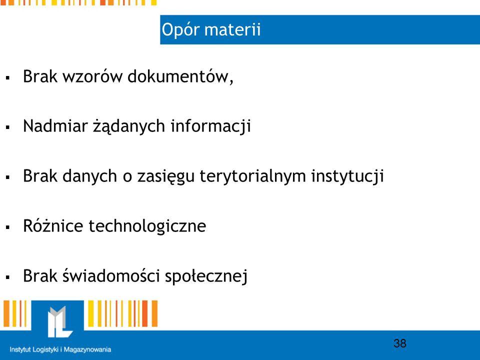 Opór materii 38 Brak wzorów dokumentów, Nadmiar żądanych informacji Brak danych o zasięgu terytorialnym instytucji Różnice technologiczne Brak świadomości społecznej