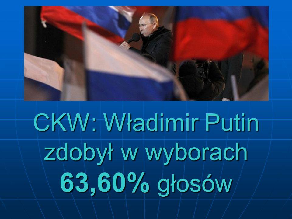 CKW: Władimir Putin zdobył w wyborach 63,60% głosów