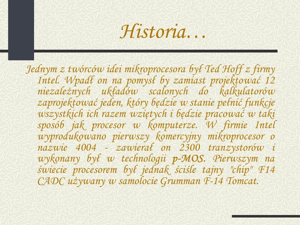 Historia… Jednym z twórców idei mikroprocesora był Ted Hoff z firmy Intel.