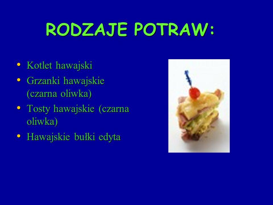 Przepis na hawajską bułkę edyta Składniki: 1 łyżka brązowego cukru, mielony imbir, łyżka sosu sojowego, 4 piersi z kurczaka, 4 plastry ananasa, 4 bułki kajzerki,2 łyżki musztardy, 4 plastry miękkiego sera 1 łyżka brązowego cukru, mielony imbir, łyżka sosu sojowego, 4 piersi z kurczaka, 4 plastry ananasa, 4 bułki kajzerki,2 łyżki musztardy, 4 plastry miękkiego sera 1.zmieszać cukier z imbirem i sosem sojowym, posmarować sosem piersi i ananasa 2.piec w piekarniku około 2 minuty z każdej strony 3.przekroic bułkę na pół i posmarować obie strony musztardą, położyć po jednej piersi a na nią ananas i plaster sera 4.włozyć do piekarnika i odczekać aż się ser rozpuści, przykryć górną częścią bułki i wcinać
