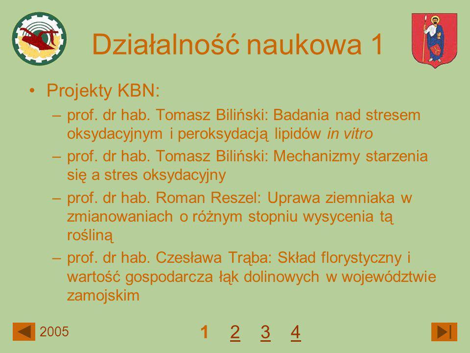 Projekty KBN: –prof. dr hab. Tomasz Biliński: Badania nad stresem oksydacyjnym i peroksydacją lipidów in vitro –prof. dr hab. Tomasz Biliński: Mechani