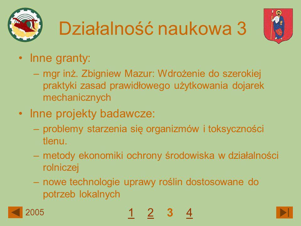 Inne granty: –mgr inż. Zbigniew Mazur: Wdrożenie do szerokiej praktyki zasad prawidłowego użytkowania dojarek mechanicznych Inne projekty badawcze: –p