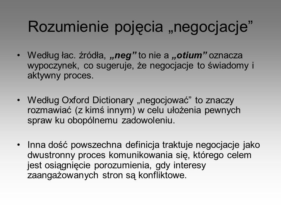 Rozumienie pojęcia negocjacje Według łac. źródła, neg to nie a otium oznacza wypoczynek, co sugeruje, że negocjacje to świadomy i aktywny proces. Wedł