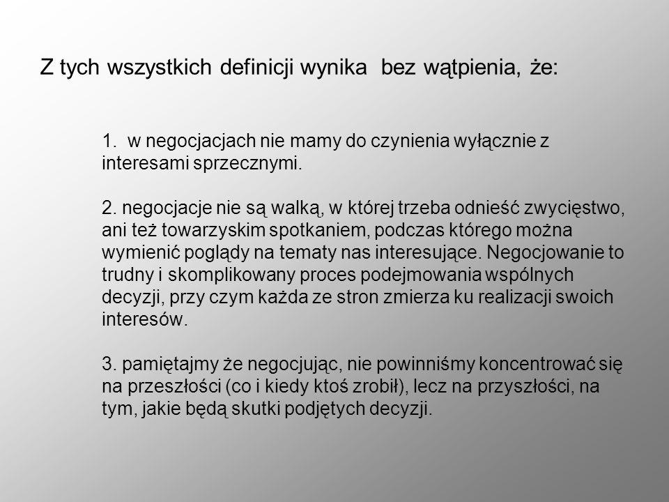 Z tych wszystkich definicji wynika bez wątpienia, że: 1. w negocjacjach nie mamy do czynienia wyłącznie z interesami sprzecznymi. 2. negocjacje nie są