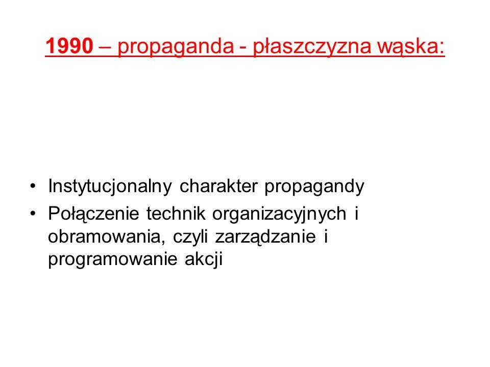 1990 – propaganda - płaszczyzna wąska: Instytucjonalny charakter propagandy Połączenie technik organizacyjnych i obramowania, czyli zarządzanie i prog