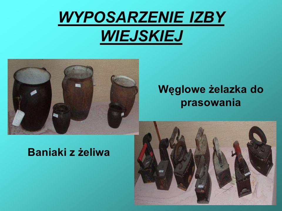 WYPOSARZENIE IZBY WIEJSKIEJ Baniaki z żeliwa Węglowe żelazka do prasowania