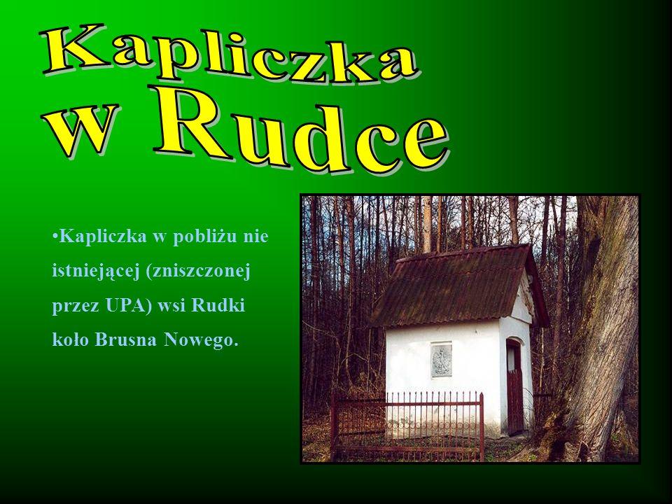 Kapliczka w pobliżu nie istniejącej (zniszczonej przez UPA) wsi Rudki koło Brusna Nowego.