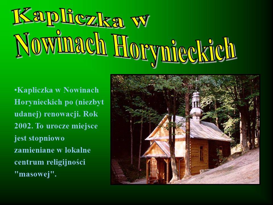 Kapliczka w Nowinach Horynieckich po (niezbyt udanej) renowacji.