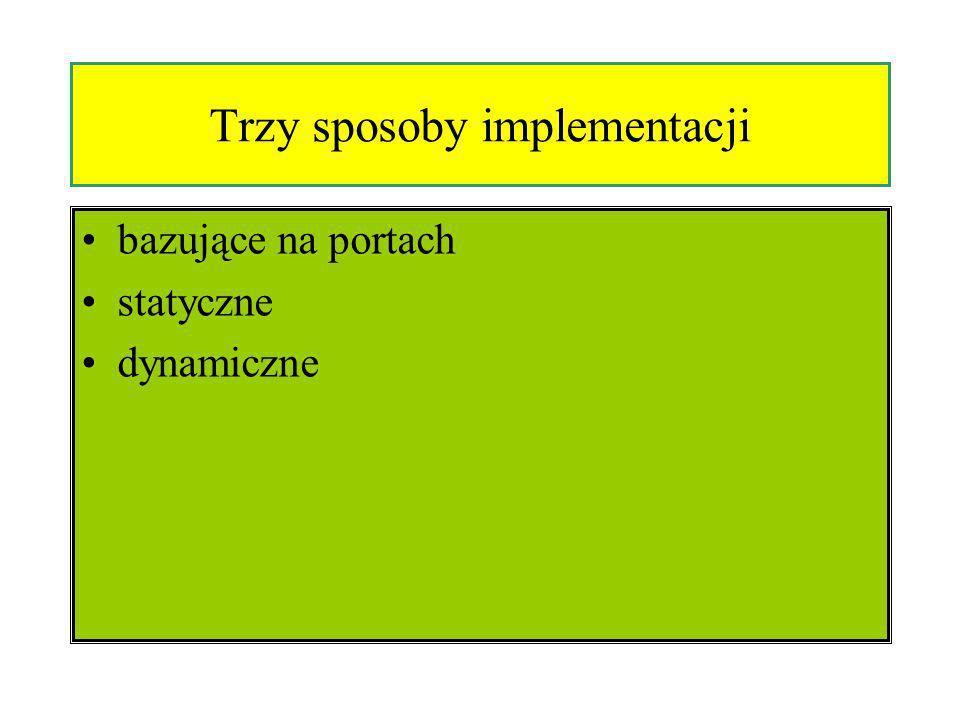 Trzy sposoby implementacji bazujące na portach statyczne dynamiczne