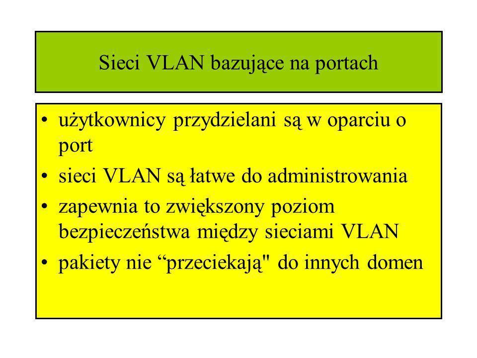 Sieci VLAN bazujące na portach użytkownicy przydzielani są w oparciu o port sieci VLAN są łatwe do administrowania zapewnia to zwiększony poziom bezpi