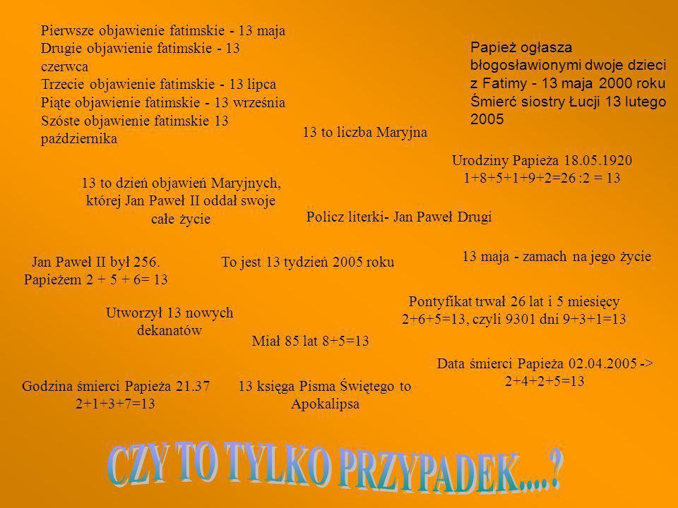 Papież ogłasza błogosławionymi dwoje dzieci z Fatimy - 13 maja 2000 roku Śmierć siostry Łucji 13 lutego 2005 Data śmierci Papieża 02.04.2005 -> 2+4+2+