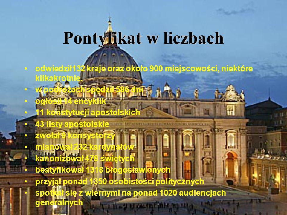 Pontyfikat w liczbach odwiedził132 kraje oraz około 900 miejscowości, niektóre kilkakrotnie. w podróżach spędził 586 dni ogłosił 14 encyklik 11 konsty