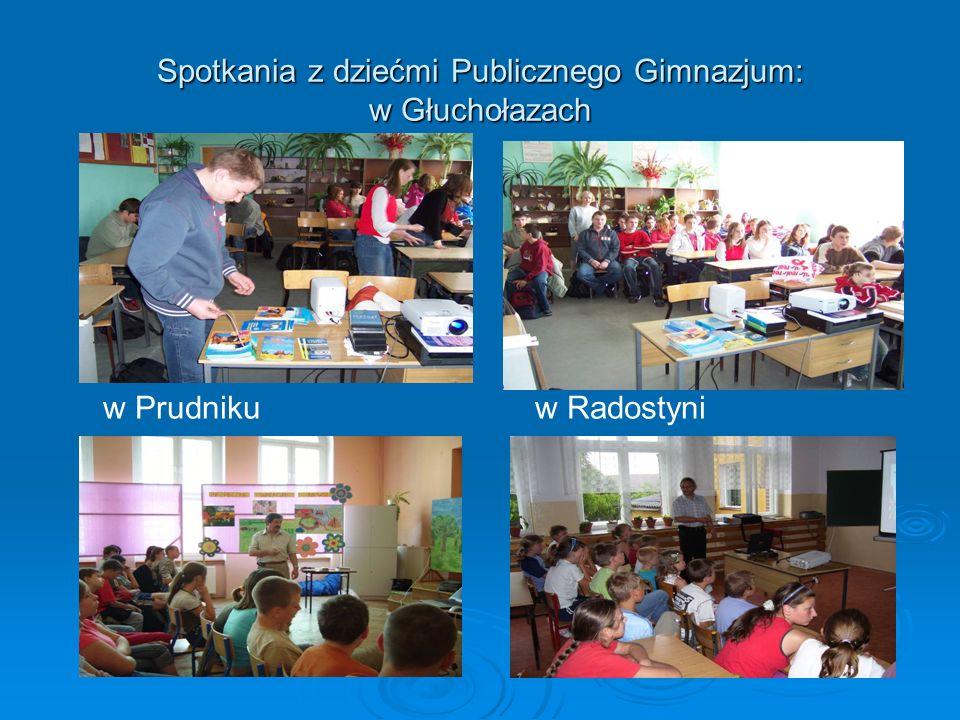 Spotkania z dziećmi Publicznego Gimnazjum: w Głuchołazach w Prudniku w Radostyni