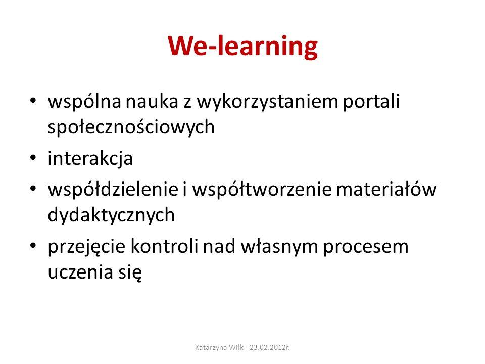 We-learning wspólna nauka z wykorzystaniem portali społecznościowych interakcja współdzielenie i współtworzenie materiałów dydaktycznych przejęcie kontroli nad własnym procesem uczenia się Katarzyna Wilk - 23.02.2012r.