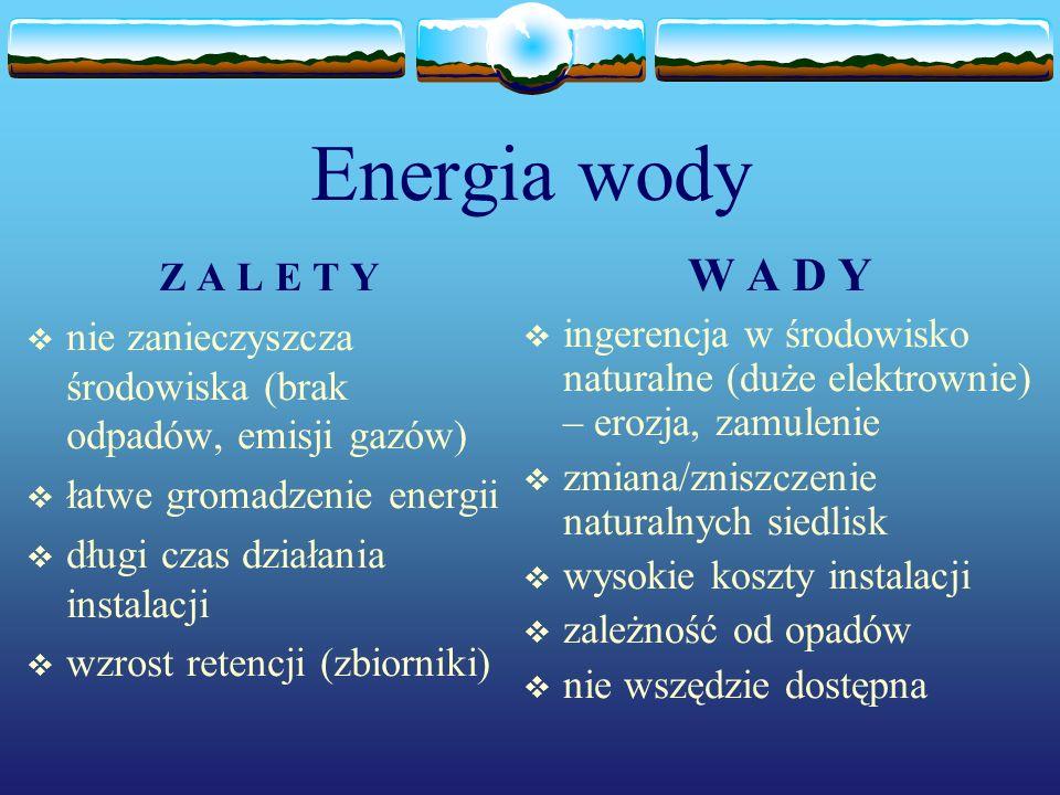 Energia wody Z A L E T Y nie zanieczyszcza środowiska (brak odpadów, emisji gazów) łatwe gromadzenie energii długi czas działania instalacji wzrost re