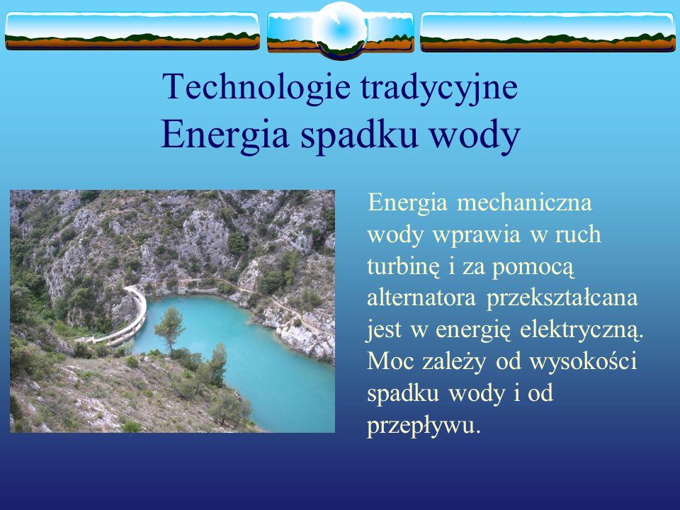Technologie przyszłości Energia pływów morskich Woda wlewając/wylewając się ze zbiorników podczas przypływu/odpływu porusza turbiny produkując energię.