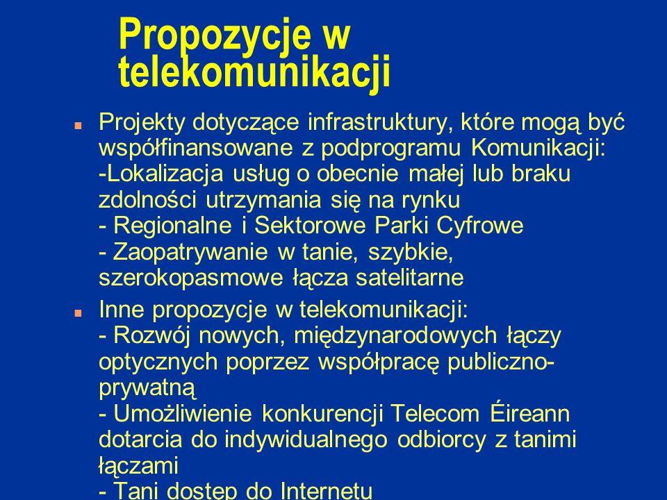 Propozycje w telekomunikacji n Projekty dotyczące infrastruktury, które mogą być współfinansowane z podprogramu Komunikacji: -Lokalizacja usług o obecnie małej lub braku zdolności utrzymania się na rynku - Regionalne i Sektorowe Parki Cyfrowe - Zaopatrywanie w tanie, szybkie, szerokopasmowe łącza satelitarne n Inne propozycje w telekomunikacji: - Rozwój nowych, międzynarodowych łączy optycznych poprzez współpracę publiczno- prywatną - Umożliwienie konkurencji Telecom Éireann dotarcia do indywidualnego odbiorcy z tanimi łączami - Tani dostęp do Internetu