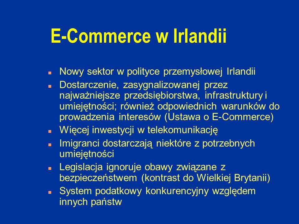 E-Commerce w Irlandii n Nowy sektor w polityce przemysłowej Irlandii n Dostarczenie, zasygnalizowanej przez najważniejsze przedsiębiorstwa, infrastruktury i umiejętności; również odpowiednich warunków do prowadzenia interesów (Ustawa o E-Commerce) n Więcej inwestycji w telekomunikację n Imigranci dostarczają niektóre z potrzebnych umiejętności n Legislacja ignoruje obawy związane z bezpieczeństwem (kontrast do Wielkiej Brytanii) n System podatkowy konkurencyjny względem innych państw