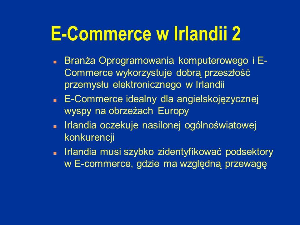 E-Commerce w Irlandii 2 n Branża Oprogramowania komputerowego i E- Commerce wykorzystuje dobrą przeszłość przemysłu elektronicznego w Irlandii n E-Commerce idealny dla angielskojęzycznej wyspy na obrzeżach Europy n Irlandia oczekuje nasilonej ogólnoświatowej konkurencji n Irlandia musi szybko zidentyfikować podsektory w E-commerce, gdzie ma względną przewagę