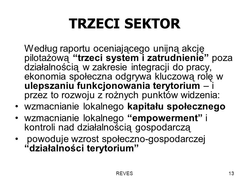 REVES13 TRZECI SEKTOR Według raportu oceniającego unijną akcję pilotażową trzeci system i zatrudnienie poza działalnością w zakresie integracji do pracy, ekonomia społeczna odgrywa kluczową rolę w ulepszaniu funkcjonowania terytorium – i przez to rozwoju z rożnych punktów widzenia: wzmacnianie lokalnego kapitału społecznego wzmacnianie lokalnego empowerment i kontroli nad działalnością gospodarczą powoduje wzrost społeczno-gospodarczej działalności terytorium