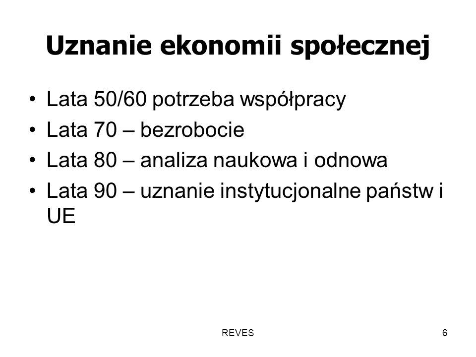 REVES6 Uznanie ekonomii społecznej Lata 50/60 potrzeba współpracy Lata 70 – bezrobocie Lata 80 – analiza naukowa i odnowa Lata 90 – uznanie instytucjonalne państw i UE