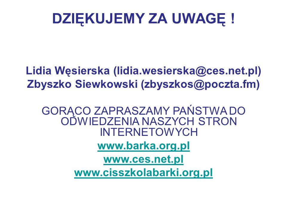 DZIĘKUJEMY ZA UWAGĘ ! Lidia Węsierska (lidia.wesierska@ces.net.pl) Zbyszko Siewkowski (zbyszkos@poczta.fm) GORĄCO ZAPRASZAMY PAŃSTWA DO ODWIEDZENIA NA