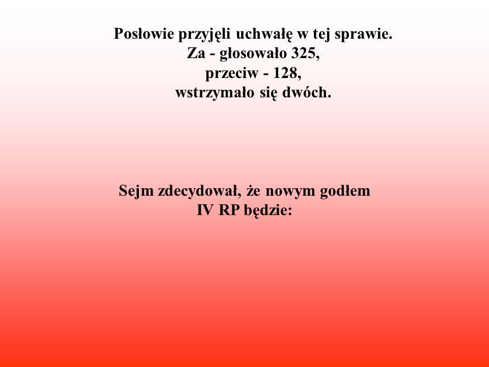 Nowy Marszałek Sejmu IV RP ogłasza zmianę Godła Narodowego